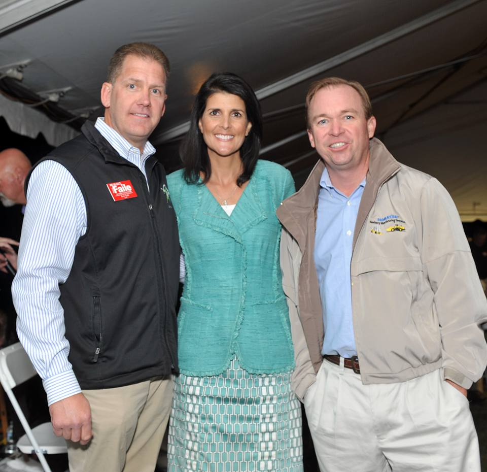 This appears to be the sole image on the Internet of Mick Mulvaney and Nikki Haley together. Nikki Haley appeared on behalf of Lancaster County Sheriff Barry Faile, offering her endorsement to his candidacy. She did not take the opportunity to endorse Mulvaney, however.