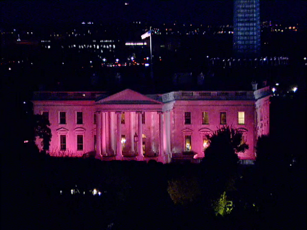 Since 2008, when George W. Bush was President, the White House has been lit up pink to mark Breast Cancer Awareness Month.