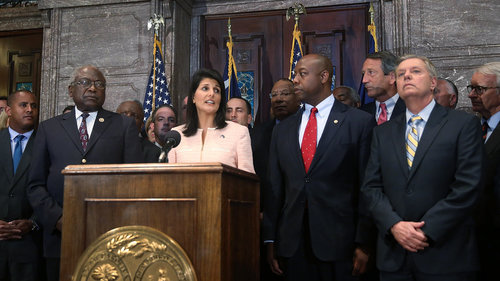 Both of South Carolina's US Senators and at least two of the state's members of the US House of Representatives (Clyburn and Sanford) were present when Nikki Haley spoke about the Confederate flag controversy. Not present: Mick Mulvaney.
