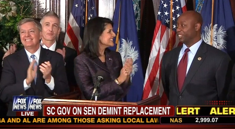 Mick Mulvaney was not there when other SC GOP leaders and members of Congress joined Nikki Haley for the announcement of Tim Scott's appointment to the US Senate.