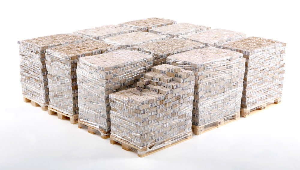 This is what a billion dollars looks like. Those are $100 bills, stacked on standard pallets. If you have this much in the bank, you're probably rooting for Mick Mulvaney, even if you don't live here.